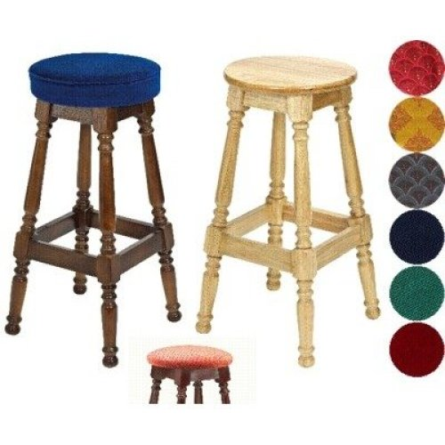 Tamara Wood Bar Stool - Padded / Unpadded Burgundy Fabric Button Seat Dark Oak