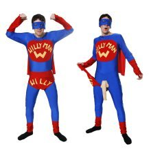 Men's Willy Superman Costume -  outfit willy man mens fancy dress costume stag night party super hero hen do superhero