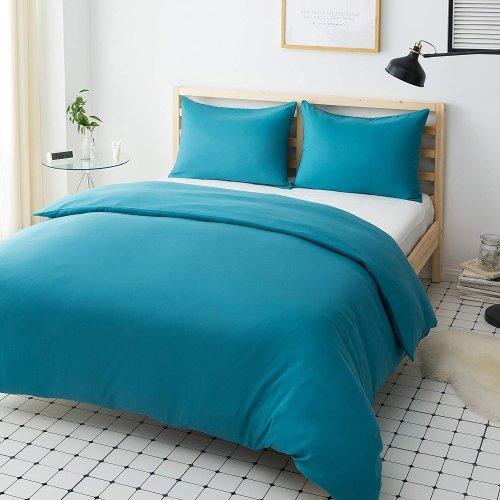 Mohap Non-Iron Duvet Cover Set 3 PCS King Plain Brushed Microfiber Bedding Duvet Cover with Pillowcases (Teal)
