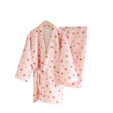 Strawberry Pattern Simple Cotton Thick Pajamas Women Pajamas Suit  Bathrobe,Pink