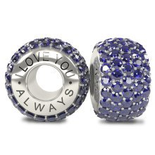 I Love You Always - Silver 925 Sapphire Austrian Crystals Bead Charm