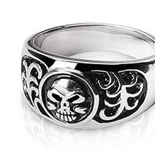 Textured Skull Design Surgical Steel Ring