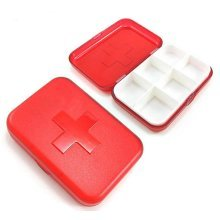 Set of 2 6 Compartment Cross-Shaped Portable Pill Boxes