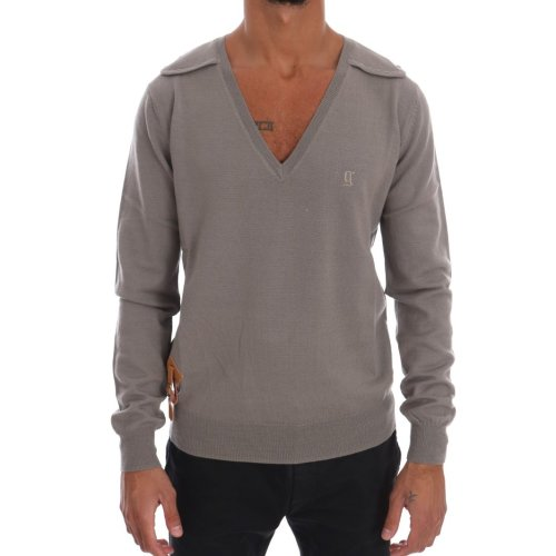 Galliano Gray Knitted 100% Wool V-neck Pullover Sweater