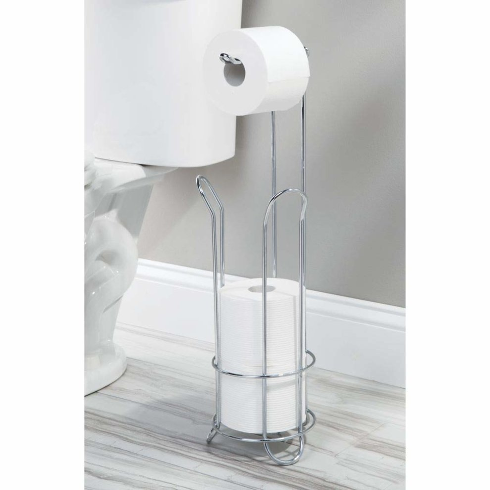 2f6370f336e178 ... InterDesign Classico Free Standing Toilet Paper Holder for Bathroom -  Chrome - 2 ...
