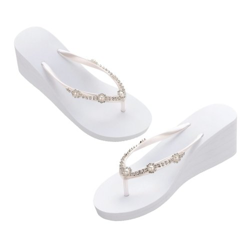 White Pearl Rhinestone Wedge Flip Flops Medium