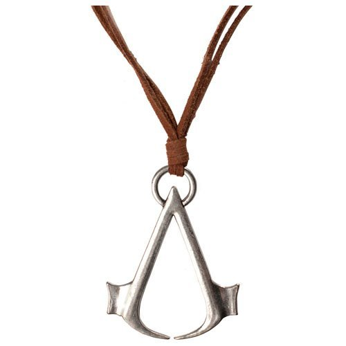 ASSASSINS CREED Brown Necklace Cord with Metal Symbol Logo (JE0E52ASC)