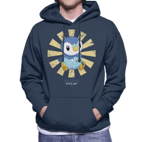 Piplup Retro Japanese Pokemon Men's Hooded Sweatshirt