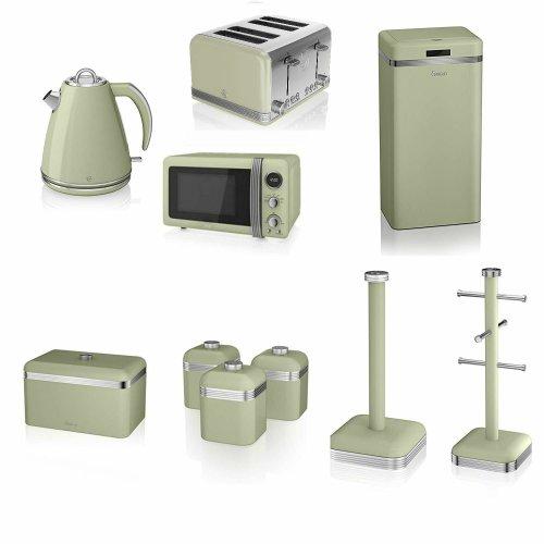 Swan Green Kitchen Appliance Retro Set - 20 Litre Digital Microwave, 1.5 Litre Jug Kettle, 4 Slice Toaster, Retro Breadbin, 3 Canisters, Towel Pole, 6 Mug Tree and Sensor Rubbish Bin Set