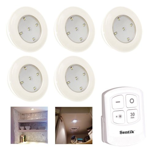 5 x Sentik LED Battery Powered Wireless Night Light Remote Control Touch Lights Closets, Cabinets, Utility Rooms, Pantries, Kitchen, Hallway or Garage