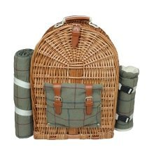 4 Person Green Tweed Fitted Picnic Back Pack
