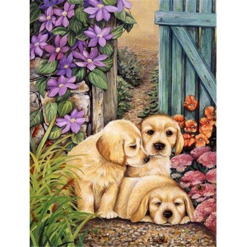 Carolines Treasures HLH0418GF Yellow Labrador Puppies by Lesley Hallas Flag Garden Size
