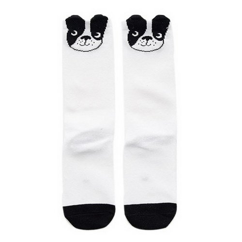 Comfortable Soft Children's Sports Long Socks, Black Puppy