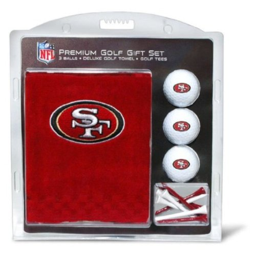 NFL San Francisco 49ers Embroidered Golf Towel, 3 Golf Ball, and Golf Tee Set