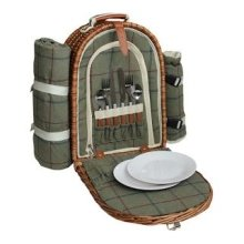 2 Person Green Tweed Fitted Picnic Back Pack