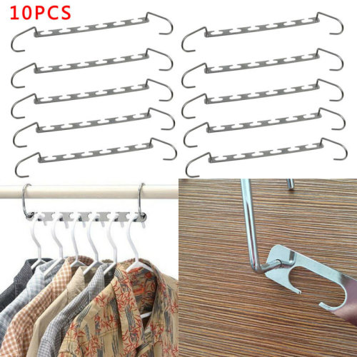 Set of 10 Metal Magic Clothes Closet Hangers Coat Clothing Organizer Space Saver