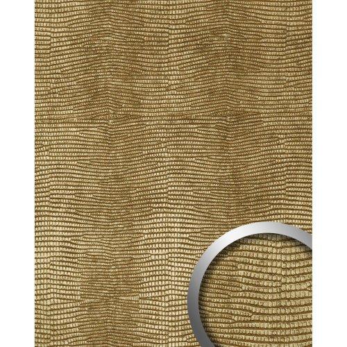 WallFace 13478 LEGUAN Wall panel leather self-adhesive wall deco gold | 2.6 sqm