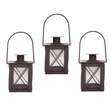 Set of Three Small Traditional Metal & Glass Lantern with Handle