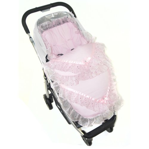 Broderie Anglaise Footmuff / Cosy Toes/Cosy Toes Fit Buggy Pushchair Baby Sparkle Pink