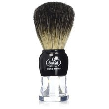 Omega 63167 Stripey 100% Pure Badger Shaving Brush with Stand
