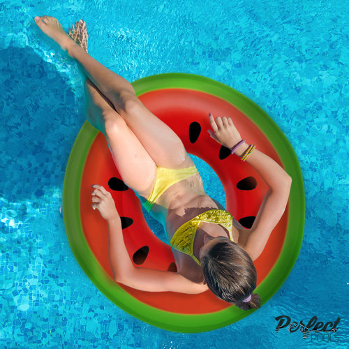 Official 'Perfect Pools' Inflatable Giant Watermelon Rubber Ring | Watermelon Pool Float