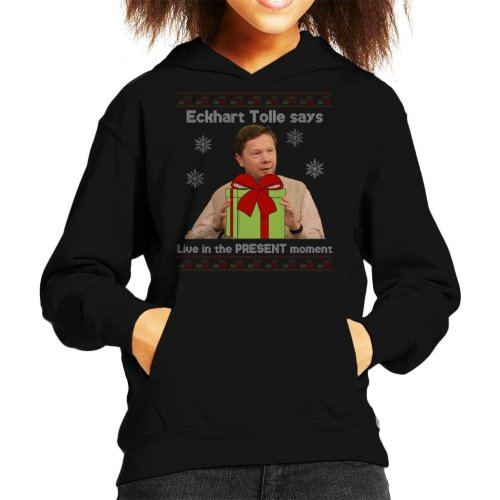 Eckhart Tolle Live In The Present Moment Knit Pattern Kid's Hooded Sweatshirt