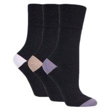 Ladies Plain Black Gentle Grip Socks, RP10