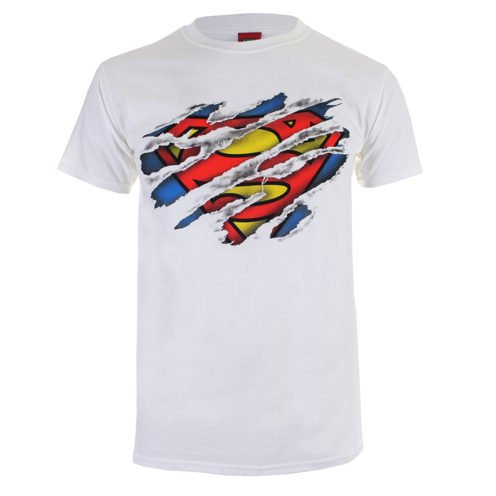 b9235fe0 DC Comics Superman Torn Logo Mens T-shirt White on OnBuy