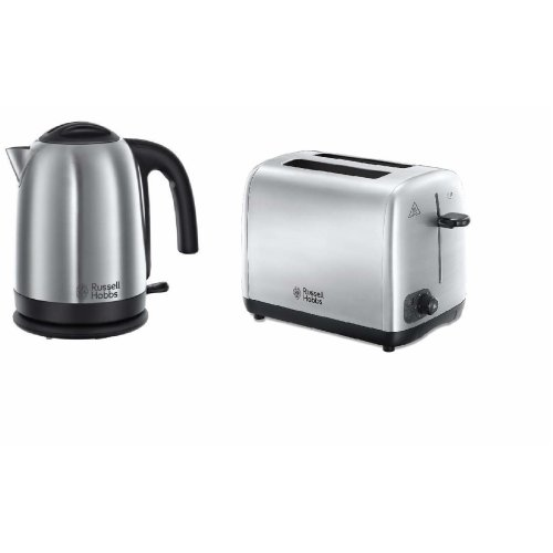 Brushed Stainless Steel 1.7L 3kW Jug Kettle and Brushed SS 2 Slice Toaster
