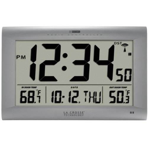La Crosse Technology 513-1311OT Atomic Digital Wall Clock with Outdoor Temperature, Silver