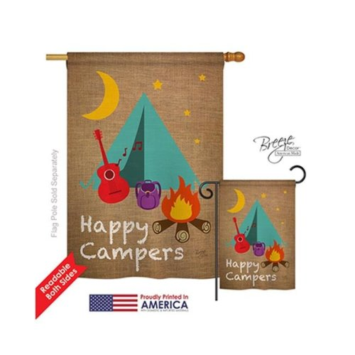 Breeze Decor 09045 Happy Campers 2-Sided Vertical Impression House Flag - 28 x 40 in.
