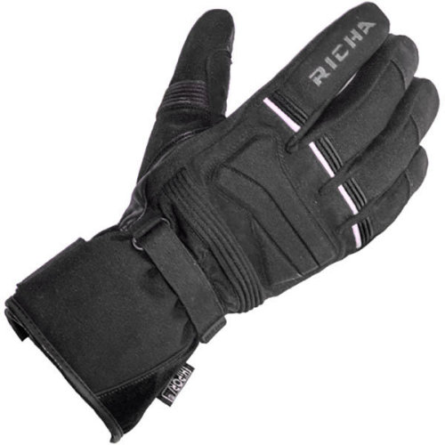 Richa Peak Black Leather Textile Mix Waterproof Motorcycle Gloves