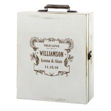 Personalised Antique White Wine Box