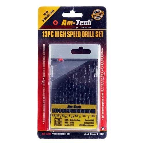 13pc High Speed Drill Set - Small -  drill set 13pc hss high speed bit metal 65mm plastic wood 15mm