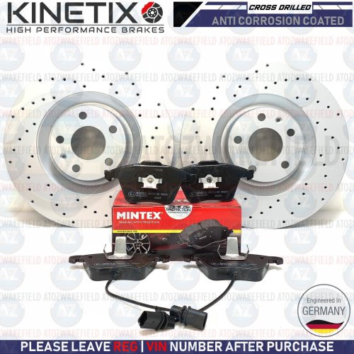 FOR BMW 3 SERIES E90 FRONT MINTEX BRAKE DISCS /& PADS /& SENSOR