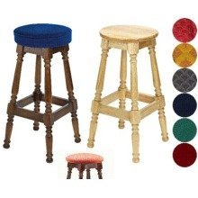 Tamara Wood Bar Stool - Padded / Unpadded Burgundy Fabric Button Seat Dark Oak