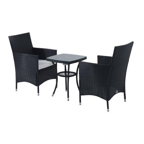 Outsunny 3pc Rattan Furniture Bistro Set Garden Table Wicker Black