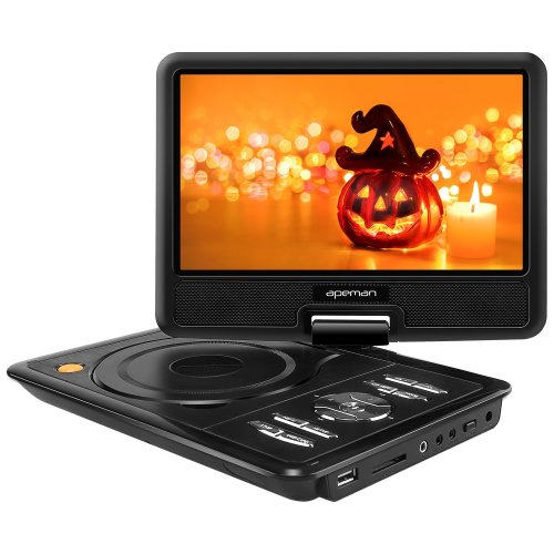 "APEMAN 9.5"" DVD Player, Swivel Screen Built-in Battery SD, USB Supported (Black)"