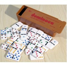 Plastic dominoes with coloured spots & spinners, double six - 00109