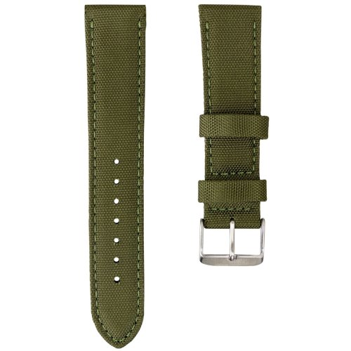 Geckota® Nylon Canvas Fabric Padded Durable Sport Watch Strap, Army Green, 20mm