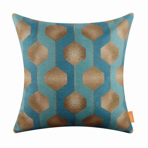 "18""x18"" Fashion Geometry Bule Pattern Burlap Pillow Cover Cushion Cover"