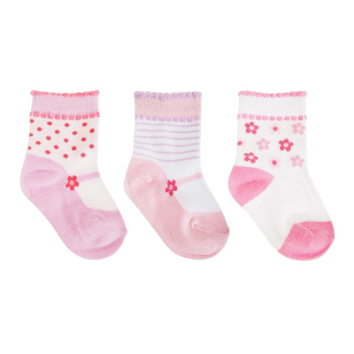 Baby Girls Cotton Rich Floral Socks (Pack Of 3)