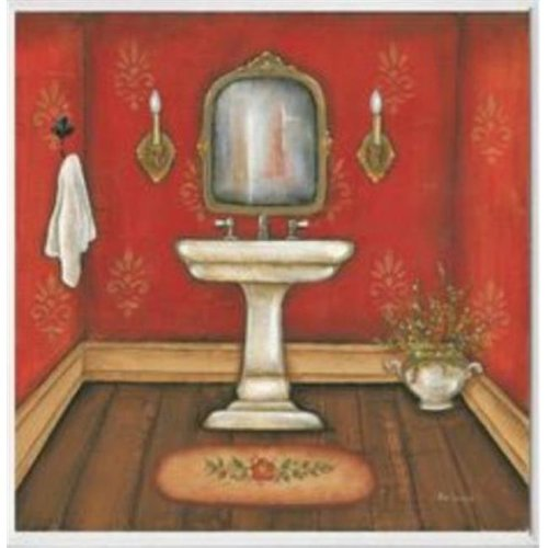 Stupell Industries WRP-1004 Red Bath with Sink Square Wall Plaque