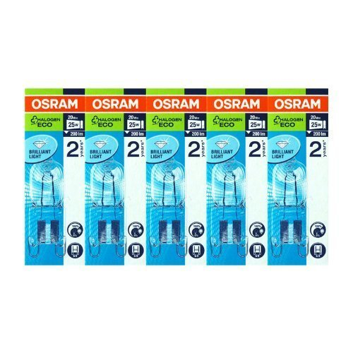 Osram Halopin 66720 Halogen Bulb G9 Pack of 5 20W 230V Eco Energy Saver Clear