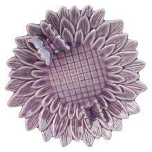 Glazed Purple Ceramic Flower 23cm Bird Feeder Dish with Butterflies