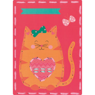 """Vervaco/Kits 4 Kids Embroidery Cards Kit 7.25""""X10.25""""-Cat & Cat (Set Of 2)"""