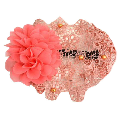 Beautiful Infant Baby Girl High Quaility Flowers Beads Hair Band Headband-Orange
