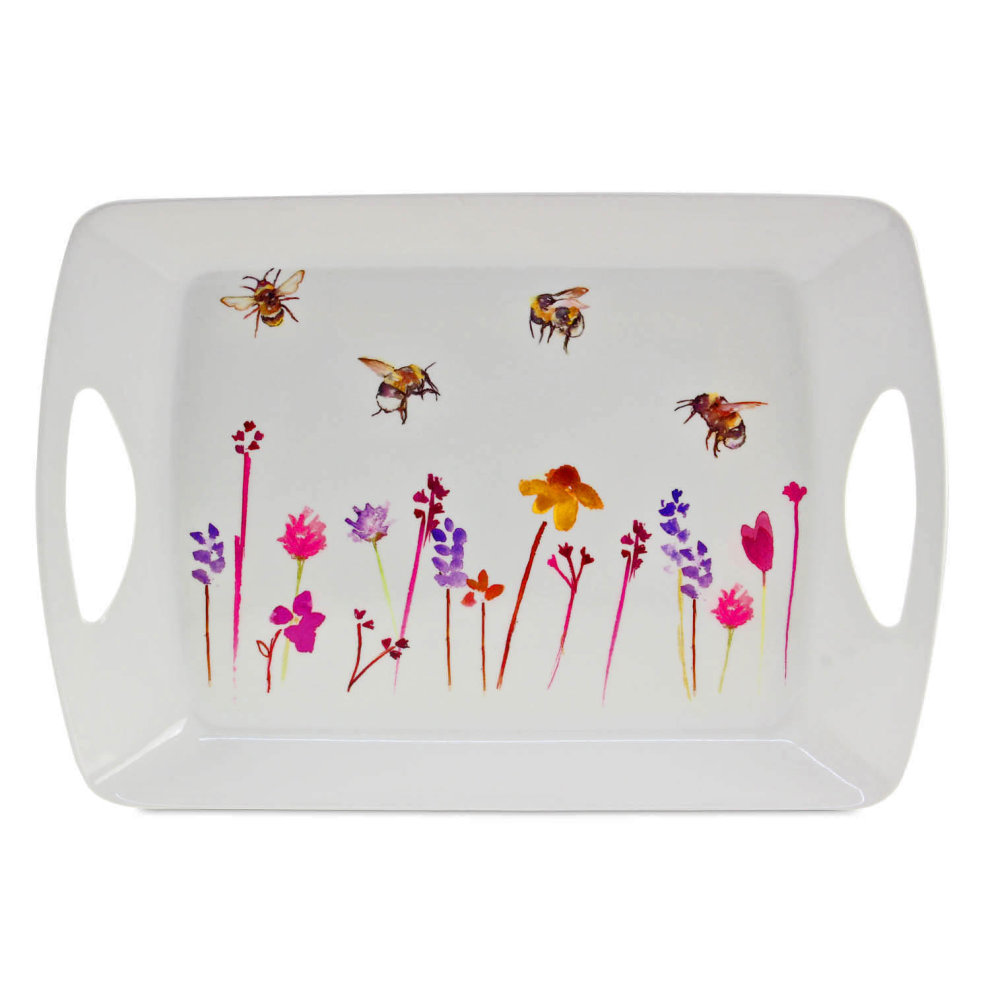 Small Rectangular Melamine Daisy Meadow Snack Tray Foods Drinks Serving Trays