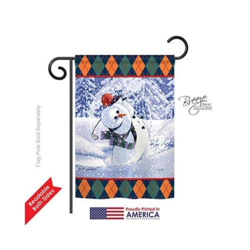 Breeze Decor 64119 Winter Snowman Golf 2-Sided Impression Garden Flag - 13 x 18.5 in.