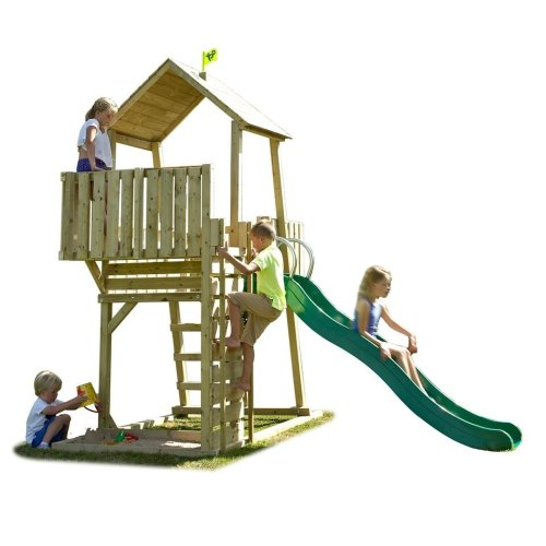 TP Toys Kingswood Normandy Wooden Climbing Frame and Slide Lookout Tower Ages 3-14 Years